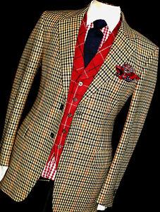 MENS GIEVES & HAWKES SAVILE ROW CHECK TWEED HUNTING SPORTS SUIT JACKET 40L UK