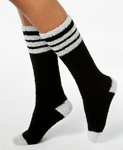 F170 Charter Club Blue or Black Fuzzy Cozy Varsity Stripe Knee-High Socks