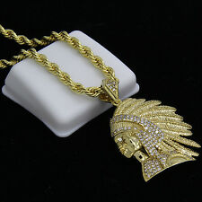 """Mens 14k Gold Plated Cz Hip-Hop Indian Face Pendant 24"""" Rope Chain Necklace D620"""