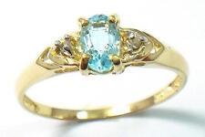 ELEGANT 10KT YELLOW GOLD BLUE TOPAZ & DIAMOND RING SIZE 7   R1335
