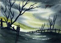 ACEO ATC original art miniature painting ' Romance  ' by Bill Lupton