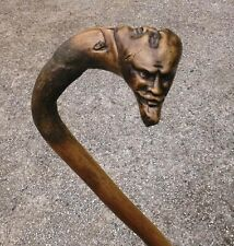 RARE FOLK ART TRIPLE HEADED WALKING STICK - mephestopheles/devil head? CURIOSITY