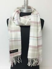 New 100% CASHMERE SCARF Wrap SCOTLAND PLAID Check Mauve/cream/Beige/blue SOFT