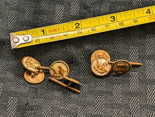 Antique Brass Button Cufflink Mens Set VTG Horse Head Cameo White OLD