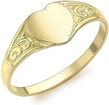 9ct Yellow Gold Heart Signet Pinkie Ring Hallmarked Ladies / Child