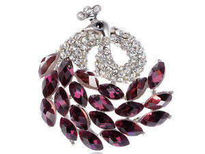 Chic Lady Brooch Crystal Element Purple Swirling Tail Peacock Pin Brooch Jewelry