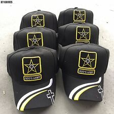6 LOT WHOLESALE GOD'S ARMY Christian Cap Religious Baseball Hat HT-769 BLACK-6