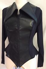Catherine Coatney Black Jacket Top Punk Steampunk Batgirl Goth XL L Club