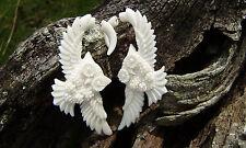 White Owl Fake Gauges Earrings  Split expanders  Wing owl flying earrings