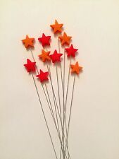 Edible Star Spray Orange And Red Cake Topper Decoration