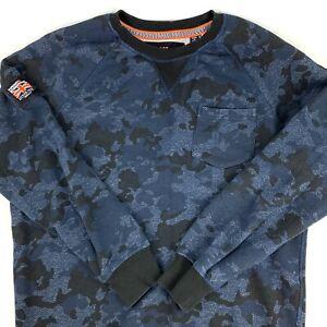 Superdry International Military Pullover Sweatshirt Blue Camo Mens XL Slim Fit