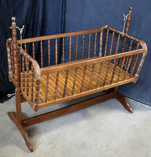 Vintage Jenny Lind Wood Wooden Hanging Swinging Cradle Baby Bed Crib Bassinet
