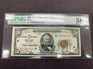 USA  50 Dollars  1929  -- FRB New York  -- PMG graded 58