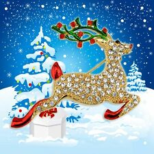 Shiny Attractive Fawn Rhinestones Xmas Gift 2Pcs Cute Christmas Deer Brooch Pin
