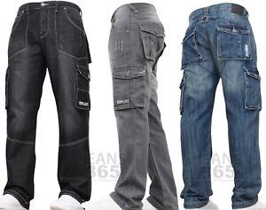 New Mens Denim And Dye Cargo Combat Work Tough Smart Multi Pocket Jeans Pants