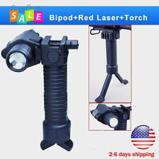Tactical Rifle Foldable Foregrip Bipod + Red Laser Sight&CREE LED Flashlight