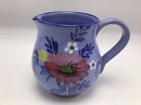 "Italy Creamer Pitcher Hand Painted Blue Floral Ceramic Pottery 4.5"" Vintage"