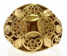 Estate Ladies Filagree Dome Ring in 21k Yellow Gold