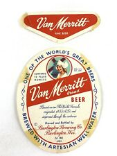 Vintage Can Merritt Brand Beer Label Burlington Brewing Wisconsin & Neckband