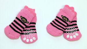 4pcs Monkey on Pink Non-Slip Dog Socks for Clean & Comfy Paws Pet Puppy Size M