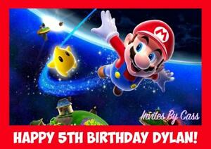MARIO SUPER MARIO BROTHERS A4 EDIBLE IMAGE CAKE TOPPER BIRTHDAY PARTY KIDS