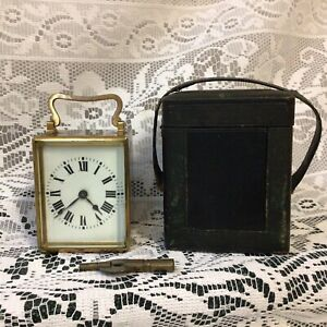 Antique Victorian Miniature French Brass Carriage Clock In Original Leather Case