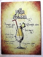 Retro Pina Colada cocktail recipe  A5 metal sign house gift idea vintage design