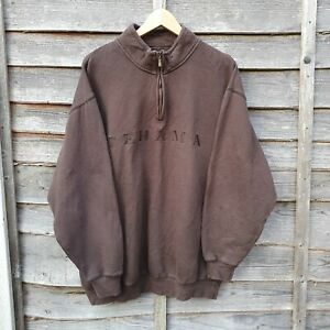 Vintage Brown Tehama Golf Big Logo Spellout Heavyweight Sweatshirt From USA