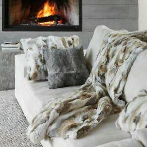 "Luxury Rabbit Fur Throw 100% Real Fur Warm Soft Bedspread Blanket 43.3"" X 21.6"""