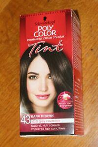 Schwarzkopf Poly Color Tint 43 Dark Brown Hair Dye Permanent Colour Grey Cover