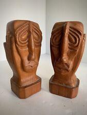 Pair Of Strange Beatnik Tiki Carved Wood Outsider Art Sculptures