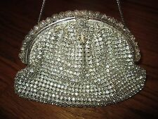 Vintage Art Nouveau Rhinestone Clutch Evening Purse Handbag Pearl Ornate Frame
