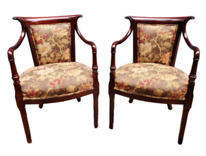 Pair Gorgeous Floral Print Upholstered Mahogany Dark Finish Stately Arm Chairs