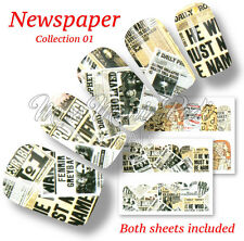 Newspaper News Print Typography Nail Art Water Decals, Stickers, Wraps BN568