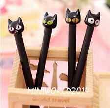 6PCS Korean Stationery Lovely Black Cat Rollerball/Gel Ink Pens-0.5mm,Black ink