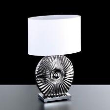 Honsel Lámpara de Mesa Sofie 1 Luz Cromado Pantalla Blanco Interruptor Pasillo