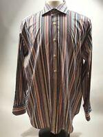 Tailorbyrd Multicolor Striped Dress Shirt 100% Cotton LS Mens Size XL