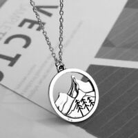 Silver Chain Pine Tree Necklace Lovely Round Mountain Pendant Women Jewelry Gift