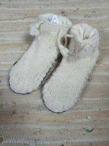 Gringo Fairtrade Cream Wool Knit Lined Slipper Socks Small - Marked Ex-Sample