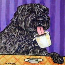 Bouvier des Flandres at the cafe coffee shop dog art tile coaster gift artwork