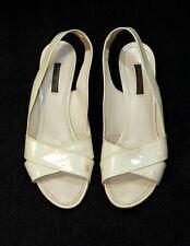 1000$ LOUIS VUITTON LV white slingback wedge sandals heels shoes 39.5-40 us9 uk7