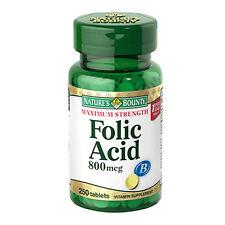 Nature's Bounty Maximum Strength Folic Acid, 800 mcg, 250 tablets, pack of 3