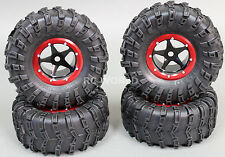 RC 1/10 Truck Wheels 2.2 ROCK CRAWLER Aluminum BEADLOCK Rims W/tires BLACK-RED