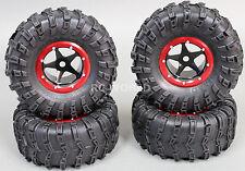 RC 1/10 Truck Wheels 2.2 ROCK CRAWLER Aluminum BEADLOCK Rims W/tires BLACK-RED