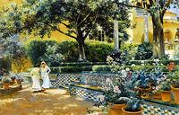 Oil painting manuel garcia y rodriguez - gardens of the alcazar nice landscape