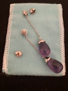 Tiffany & Co Authentic Silver Picasso 20 Carat Amethyst Earrings