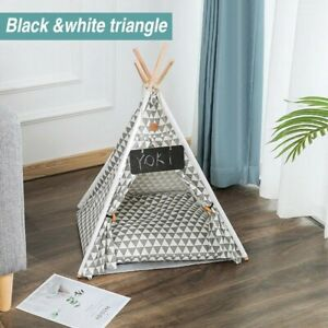 Pet Puppy Cat Dog Teepee Sleeping Tent Bed House Thick Cushion Indoor Portable