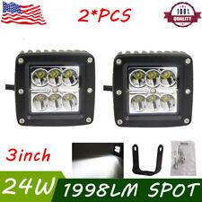 2X 24W 3inch Spot LED Work Lights Off-road Bike Jeep Golf Cart Backup Pods Cube