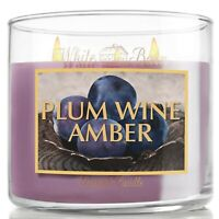 BATH & BODY WORKS WHITE BARN PLUM WINE AMBER 3-WICK CANDLE 14.5 oz DISCONTINUED!