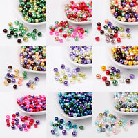 1 Bag Pearlized Glass Pearl Beads Mixed Color 6mm, Hole: 1mm; about 200pcs/bag